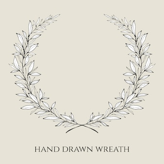 Hand drawn elegant wedding wreath