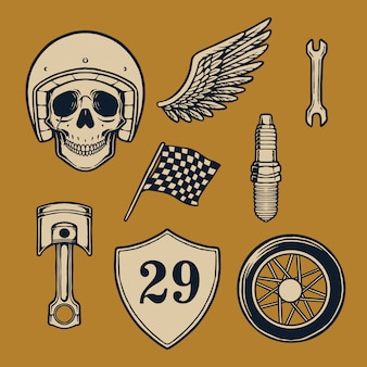 Hand drawn element of motorcycle