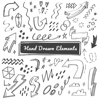 Hand drawn elements, arrow, swish doodles