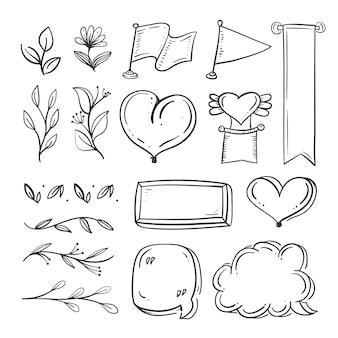 Elementi disegnati a mano per set di riviste bullet