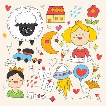 Elementi disegnati a mano di celebrazione, carattere e altro ancora