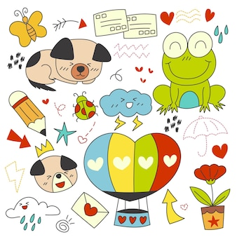 Hand drawn elements of character, animal and vector element.