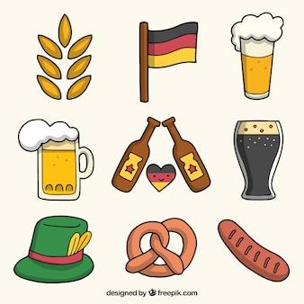 Elementi disegnati a mano della celebrazione tedesca