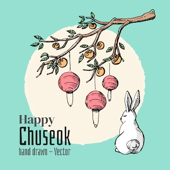 Hand drawn elements of happy chuseok. mid autumn full moon festival background.