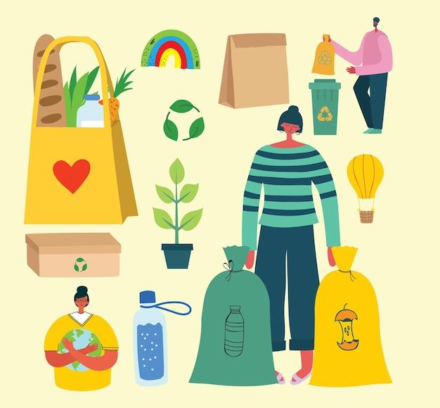 Вручите оттянутые элементы нулевой жизни отходов в векторе. эко-стиль. никакого пластика. зеленые в плоском стиле