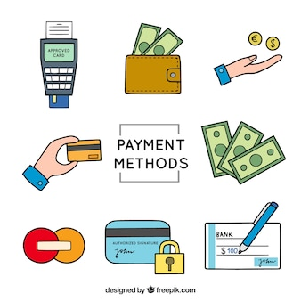 Hand drawn elements of payment methods