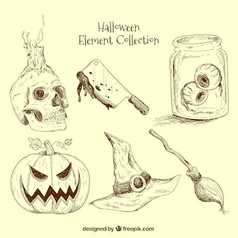 Hand-drawn elements ready for halloween