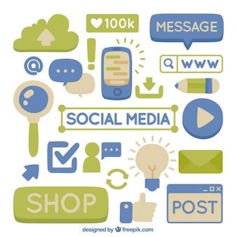 Hand-drawn elements of social media
