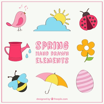 Hand drawn elements of springtime