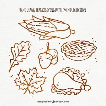 Нарисованные от руки элементы, чтобы отпраздновать день благодарения