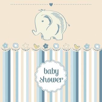 少し象と赤ちゃん男の子シャワーカード