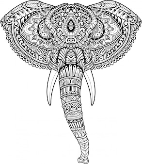 Hand drawn of elephant head in zentangle style