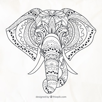 Hand Drawn Elephant In Ethnic Style