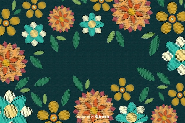 Hand drawn embroidery floral background