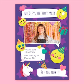 Hand drawn emoji birthday invitation template with photo