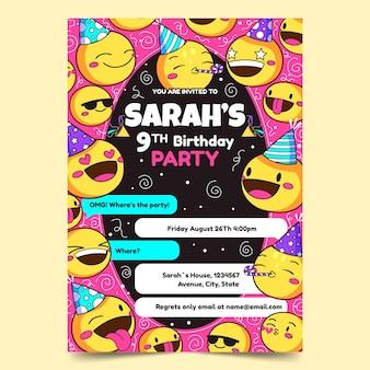 Modello di invito di compleanno emoji disegnati a mano