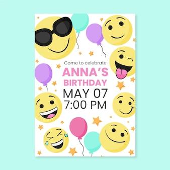 Ручной обращается шаблон приглашения на день рождения emoji