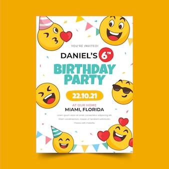 Modello di invito di compleanno emoji disegnato a mano