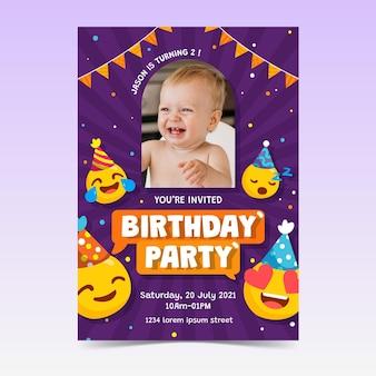 写真付きの手描きの絵文字の誕生日の招待状