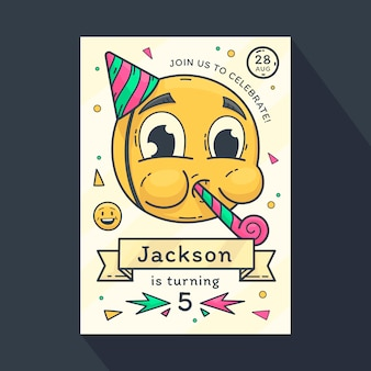 Hand drawn emoji birthday invitation