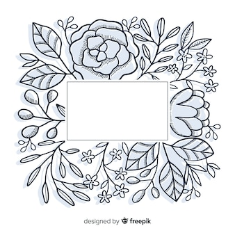 Hand drawn empty frame with floral design