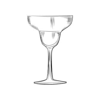 Рука нарисованные пустой стакан маргариты эскиз. стиль гравировки. векторные иллюстрации, изолированные на белом фоне.