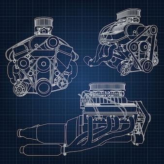 Hand drawn engine blueprint