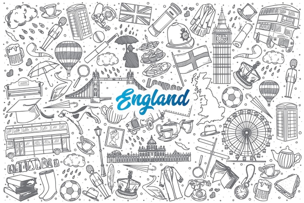 Hand drawn england doodle set background with blue lettering