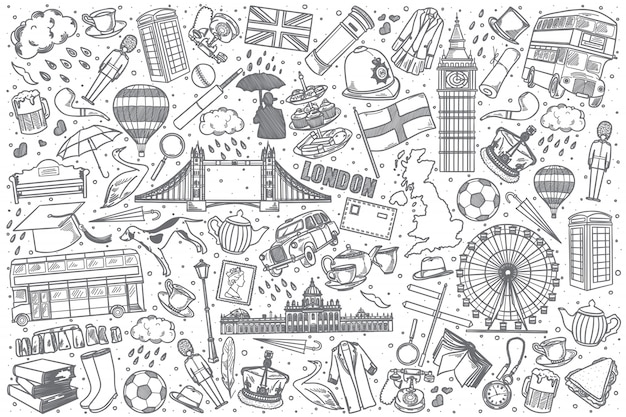Набор рисованной англии каракули