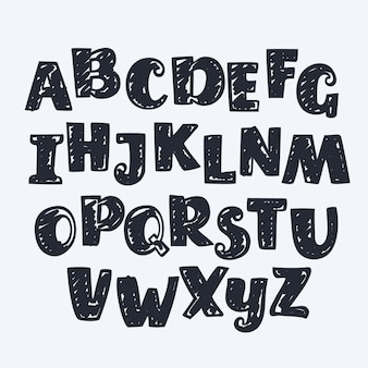 Hand drawn english letters. abc
