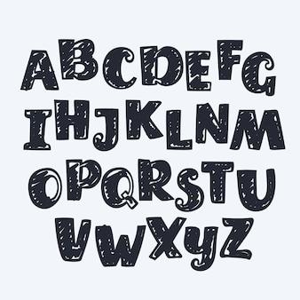 손으로 그린 영어 편지. 알파벳
