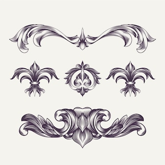 Hand drawn engraved baroque elements and decoration