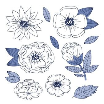 Коллекция рисованной гравировки цветов