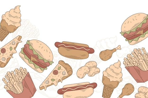 Ручной обращается гравюра еда каракулей фон