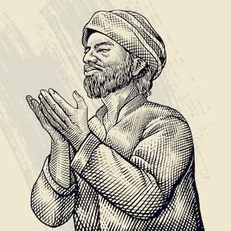 イラストを祈る老人の手描きの彫刻