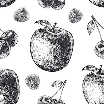 手描きの彫刻スタイルの黒と白のシームレスなフルーツパターン。梨、リンゴ、さくらんぼ、ラズベリー生地、紙、背景。