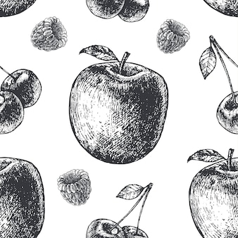 Hand drawn engraving style black and white seamless fruit pattern. pear, apple, cherries, raspberry fabric, paper, background.