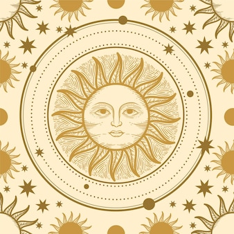 Hand drawn  engraving  sun pattern