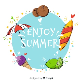 Hand drawn enjoy summer background