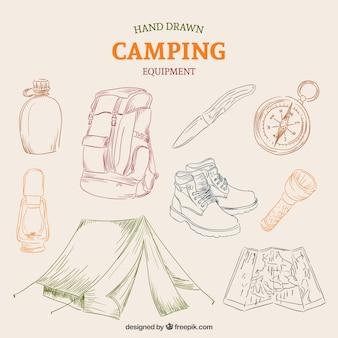 Attrezzature disegnata a mano di campeggio