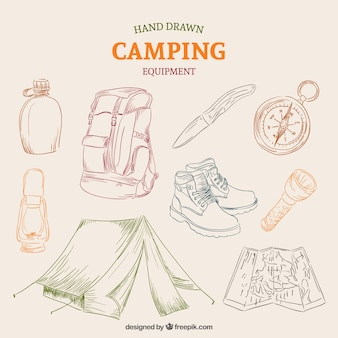 Hand drawn equipment of campsite