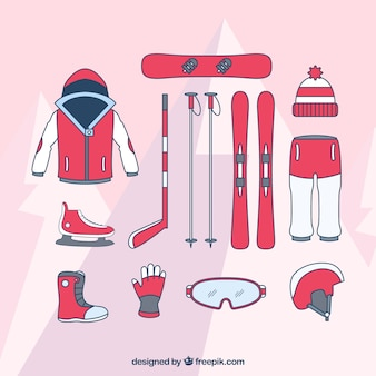 Hand drawn equipment of various winter sports
