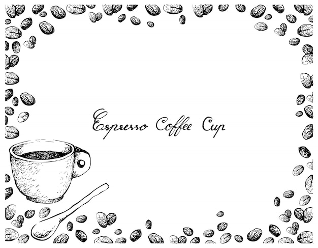 Hand drawn of espresso coffee with roasted coffee beans