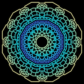 Hand drawn  ethnic abstract mural gradient colored mandala isolated on black for use in design t-shirt, card, invitation, book, album, poster, brochures, notebook etc