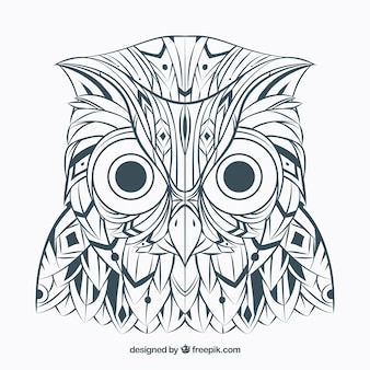 Hand drawn ethnic abstract owl