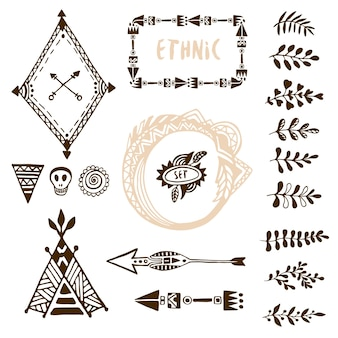 Hand drawn ethnic collection with arrows, wigwam, frames and border, floral brush strike elements