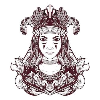 손으로 그린 민족 소녀 그림