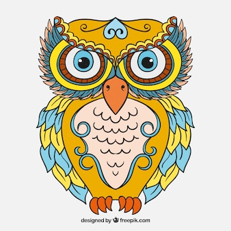 Hand drawn ethnic owl