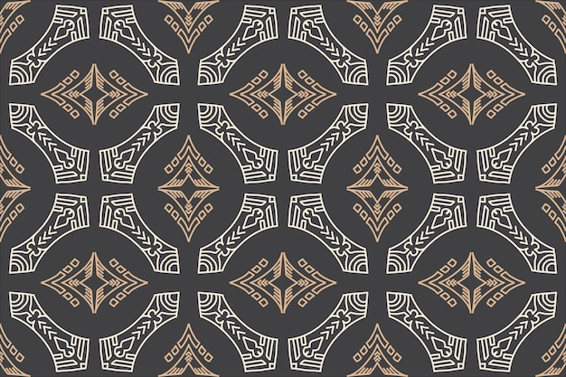 手描きの民族のシームレスなパターン古代スタイルの背景