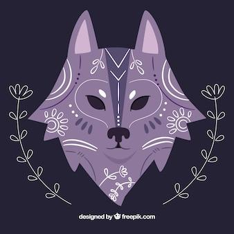 Sfondo di lupo etnico disegnato a mano con dettagli floreali